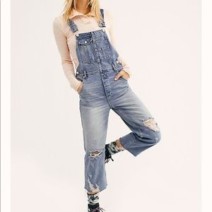 Free People Baggy Boyfriend Overalls distressed